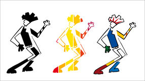 Dancing rock guy. Dancing man, funny guy, three figures of different colors of a rock dancer stock illustration