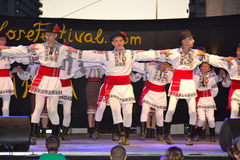 Dancing Romanian boys scene Royalty Free Stock Image