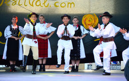 Dancing Romanian boys scene Royalty Free Stock Images