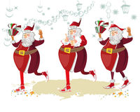 Dancing Santa. Santa Claus with a bag full of gifts in the old city. Christmas greeting card background poster. Holy Night. Vector illustration Royalty Free Stock Images