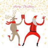 Dancing Santa Claus and deer illustration Stock Photography