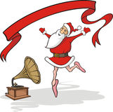 Dancing santa claus, gramophone and banner Royalty Free Stock Photography