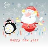 Dancing Santa Claus and a penguin Stock Photography