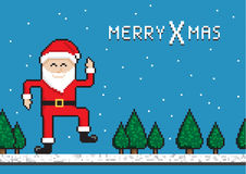 Dancing Santa. Funny Dancing Santa, Christmas pixel art style illustration Royalty Free Stock Image