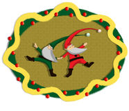 Dancing santa garland. Illustration about a red santa claus dancing with a green santa claus inside a christmas garland Royalty Free Stock Photos