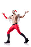 Dancing santa isolated Stock Photography