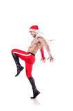 Dancing santa isolated Royalty Free Stock Images