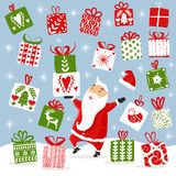Dancing Santa and a stack of gifts, many gifts falling from the sky. Happy Santa Claus giving presents. Satisfied Santa royalty free illustration