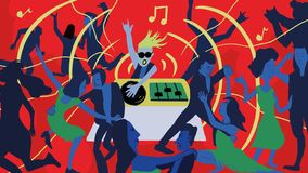 Dancing scene illustration under the auspices of the bar music DJ royalty free illustration