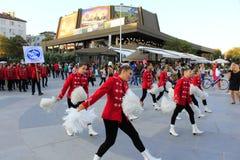 Dancing schools' majorettes Varna street Bulgaria Stock Image