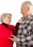 Dancing senior couple. Isolated over white Royalty Free Stock Images