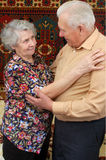 Dancing senior couple. At home Stock Photo