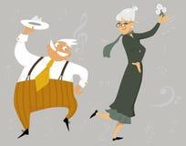 Dancing senior couple vector illustration