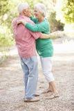 Dancing senior delle coppie nella campagna insieme Immagini Stock Libere da Diritti