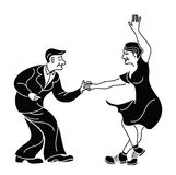 Dancing seniors. Happy old people have fun. Active pensioners.Retro vintage black silhouette dancer.Couple silhouettes. Dancing swing, rock or lindy hop. Retro Royalty Free Stock Images