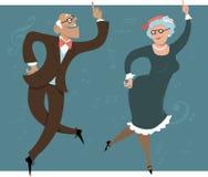 Dancing seniors. Senior couple dancing swing or Big Apple, vector illustration, EPS 8 vector illustration