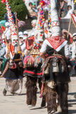 Dancing shepherds on folklore festival in Bulgaria Stock Photos