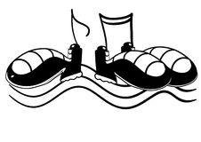 Dancing shoes. Illustration of dancing shoes with music notes royalty free illustration