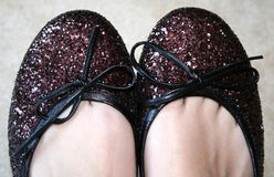 Dancing shoes. A pair of sparkling dancing shoes: ready to dance stock photo