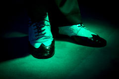 Dancing shoes feet of male ballroom, latin, salsa and swing danc Royalty Free Stock Photography