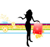 Dancing shopper. On abstract background vector illustration
