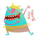 Dancing Showing Cheerful Cute Monster for Children Royalty Free Stock Images