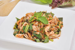 Dancing shrimp salad on dish. Royalty Free Stock Photography