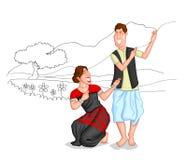 Dancing Sikkimi couple Stock Photos