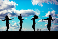 Dancing silhouette Stock Images