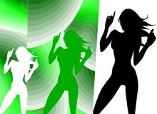 Dancing Silhouette. Funny Silhouette about a Nice Girl dancing Vector Illustration