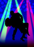 Dancing Silhouette Color. Couple dancing with lights and bubbles Royalty Free Stock Photography
