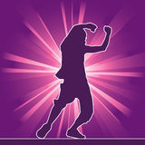 Dancing silhouette, hip-hop Royalty Free Stock Images