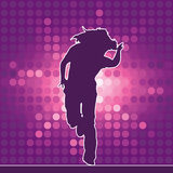 Dancing silhouette, hip-hop Stock Photography