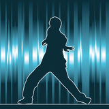 Dancing silhouette, hip-hop Stock Photo