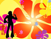 Dancing silhouette hippie girls. An illustration with colourful flowers and a couple of silhouette hippie girls dancing Royalty Free Stock Image