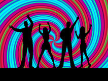 Dancing Silhouette Indicates Disco Music And Dance royalty free illustration