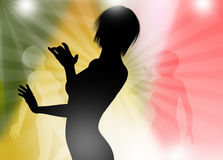 Dancing silhouette template Stock Photography