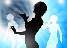 Dancing silhouette template Royalty Free Stock Images