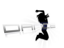 Dancing silhouette white background Royalty Free Stock Images