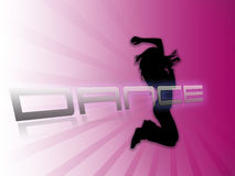 Dancing silhouette white purple background Royalty Free Stock Image