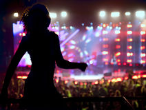 Dancing silhouette of woman. In a nightclub Stock Photos