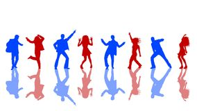 Dancing silhouettes. Blue and red Dancing silhouettes Stock Photography
