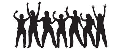 Dancing silhouettes Stock Images