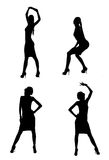 Dancing silhouettes. Silhouettes of dancing woman isolated on white Stock Photo