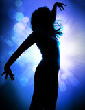 Dancing silhouettes 3. Dancing silhouettes of woman in a nightclub Stock Image