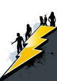 Dancing Silhouettes. Five silhouettes of dancing men and women, positioned along the side and top of an angular large yellow lightning bolt, dividing the Stock Images