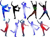 Dancing silhouettes girls_ stock image