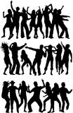 Dancing silhouettes - large collection Royalty Free Stock Images