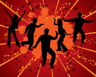Dancing silhouettes, vector. Dancing silhouettes on grunge background, vector illustration Royalty Free Stock Images