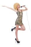Dancing singer woman Royalty Free Stock Image